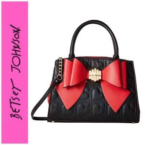 🆕 Betsey Johnson BLK/Red Bow Satchel With Pouch